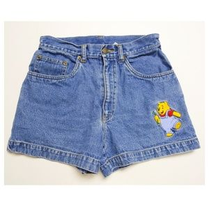 VTG Winnie the Pooh embroidered high waist shorts